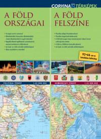 Corvina Kiadó: A Föld országai - A Föld felszíne - 92*66 cm-es kétoldalas fali duótérkép -  (Könyv)
